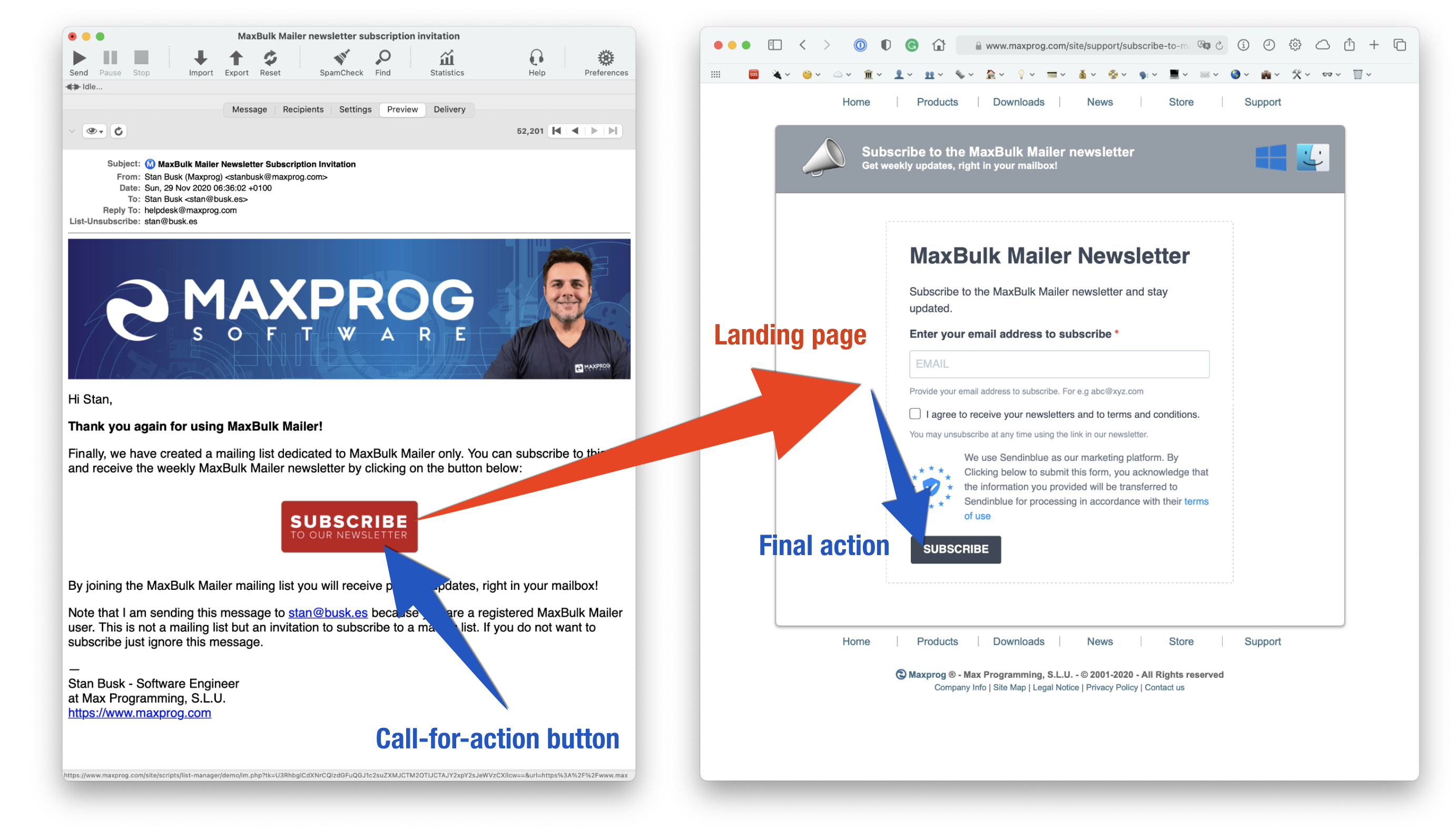 Landing page and call-for-action button
