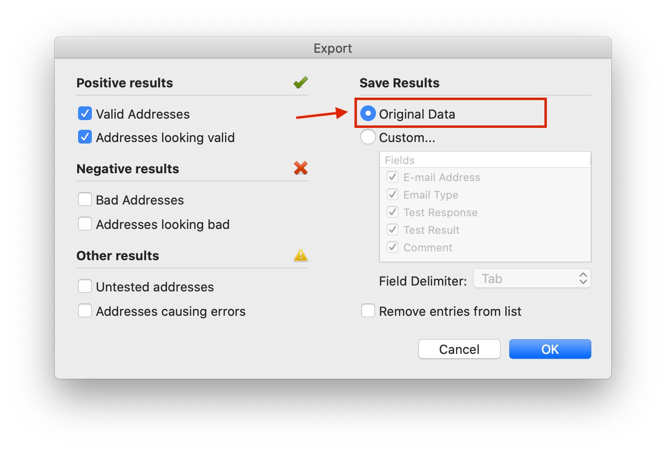 Exporting email Verifier result data