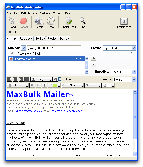 MaxBulk Mailer Screen shot