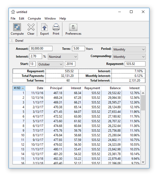 Loan Calc Screen shot