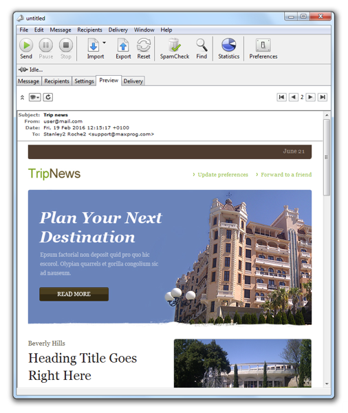 Send customized newsletters with this Advanced bulk mailer & mail-merge soft